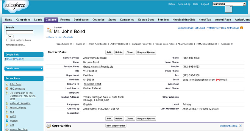 Salesforce Contacts Dashboard