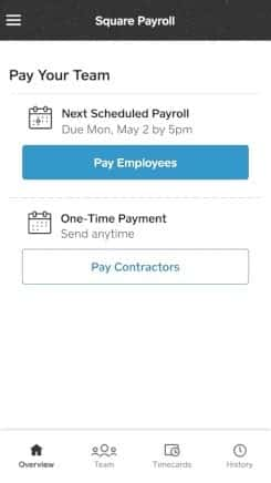 Square Payroll on Mobile