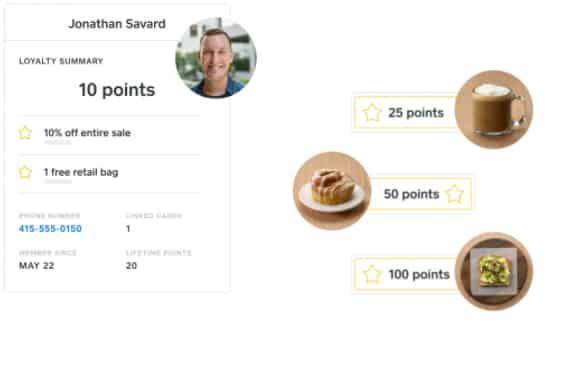 Screenshot of Square POS View_loyal customers points and reward