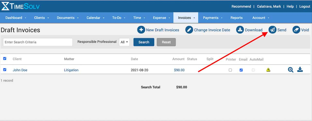 Screenshot of TimeSolv Invoicing from Timesheet