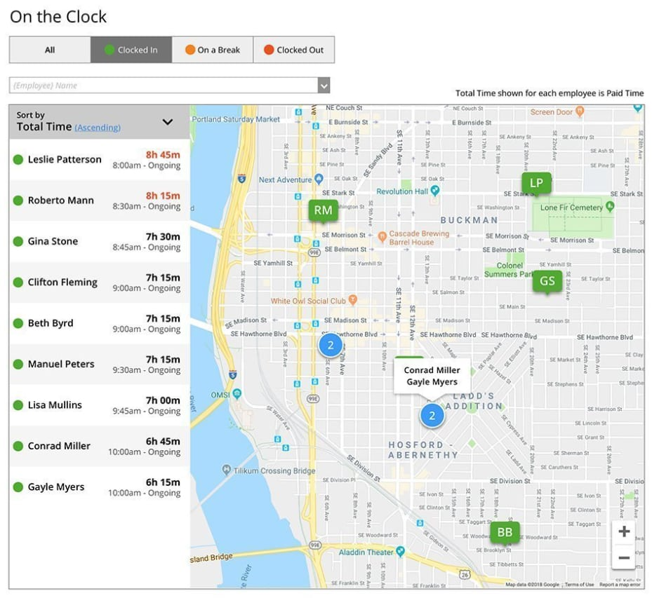 Screenshot of Time Tracker On the Clock