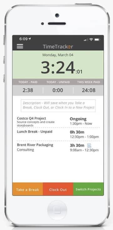 Screenshot of Time Tracker Time Card
