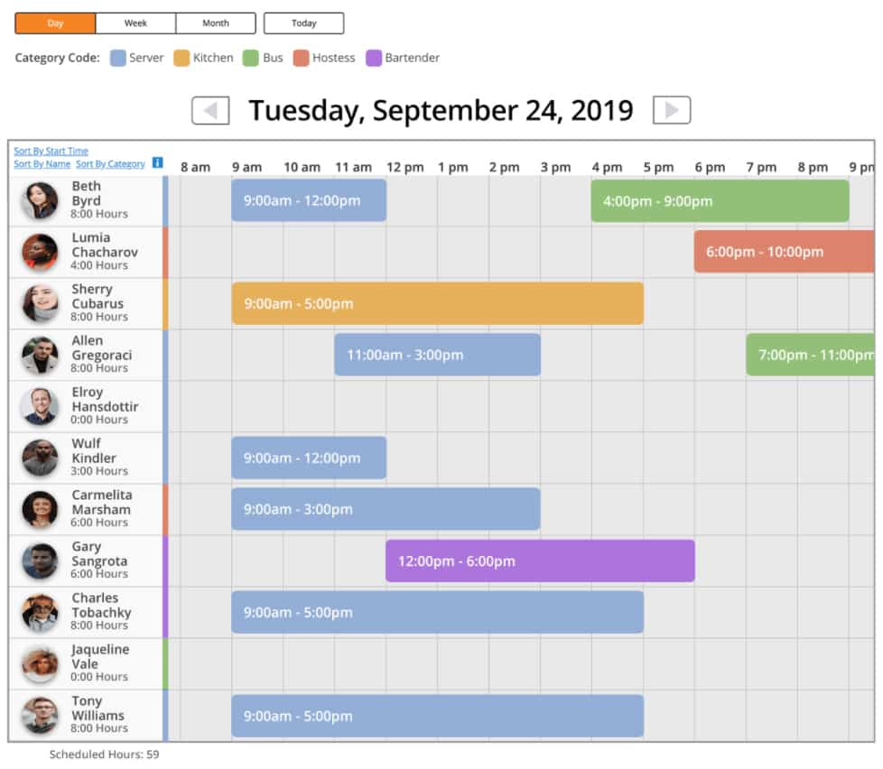 Screenshot of Time Tracker scheduling tool