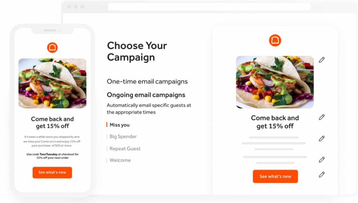 Screenshot of Toast POS built-in marketing tool