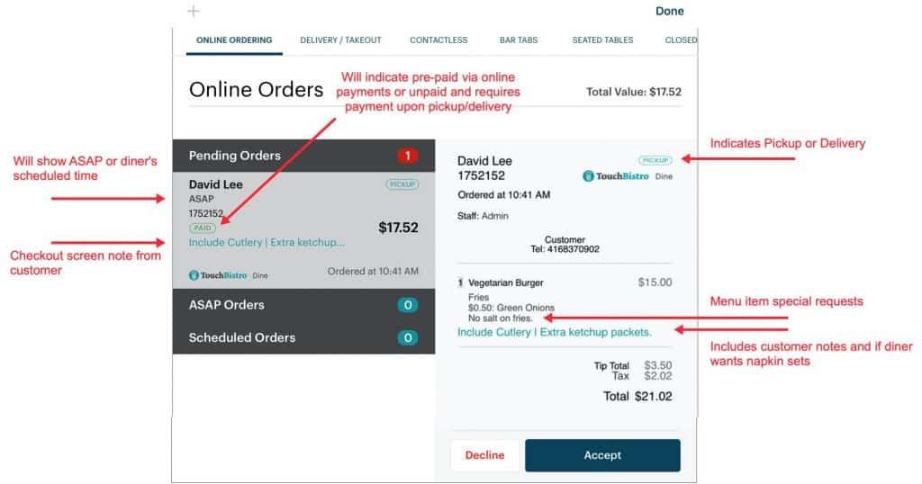 Screenshot of TouchBistro Manage online orders