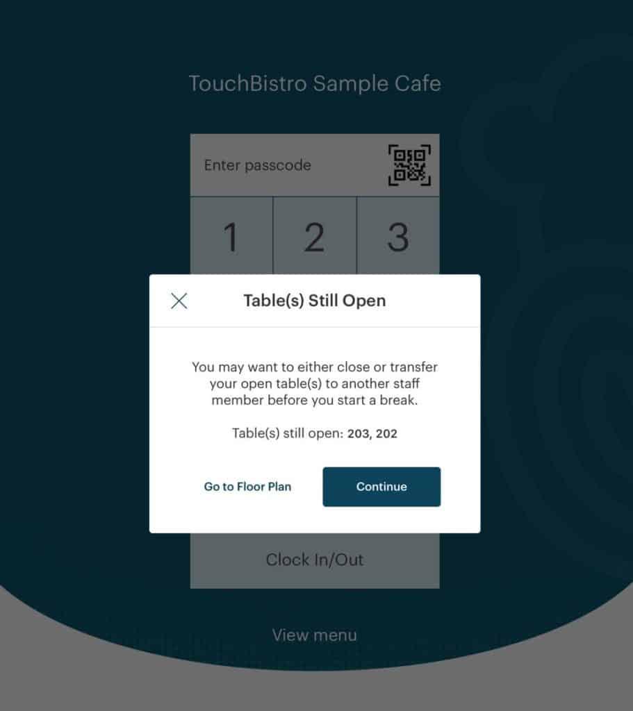 Screenshot of TouchBistro break management feature