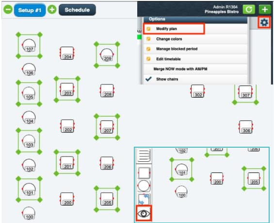 Screenshot of TouchBistro floor plan example