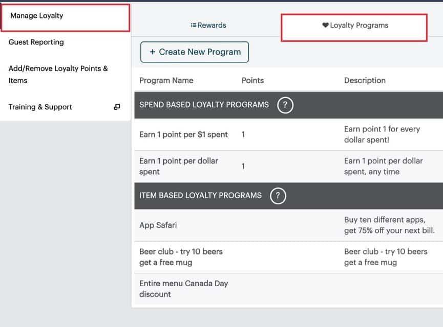 Screenshot of TouchBistro loyalty programs