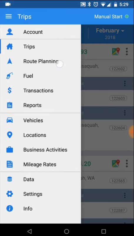 Screenshot of TripLo Accessing Route Planning