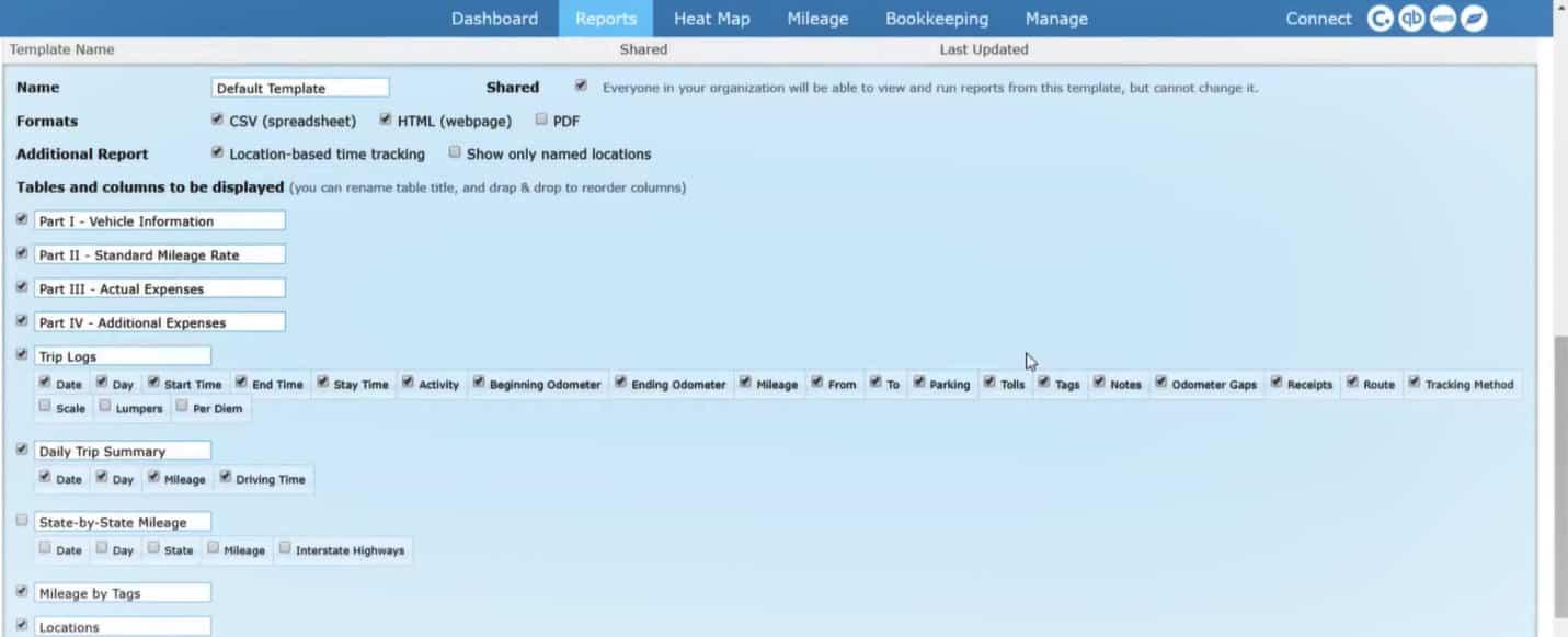 Screenshot of TripLo Creating Customized Reports