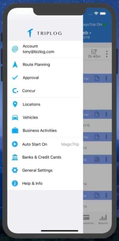 Screenshot of TripLo Main Menu