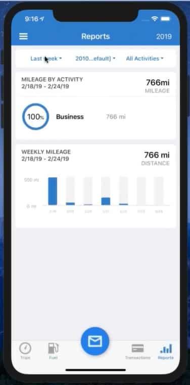 Screenshot of TripLo Mobile App Viewing Reports