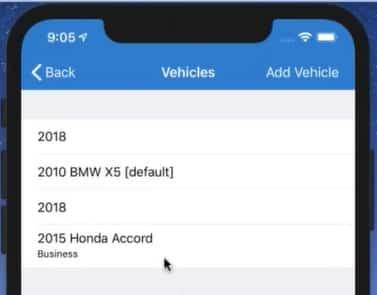 Screenshot of TripLo Selecting Vehicle