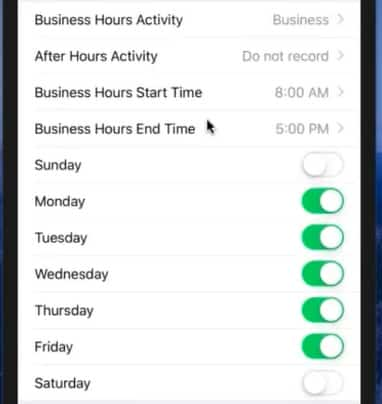 Screenshot of TripLo Setting Work Hours