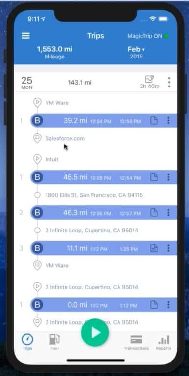 Screenshot of Trips Dashboard
