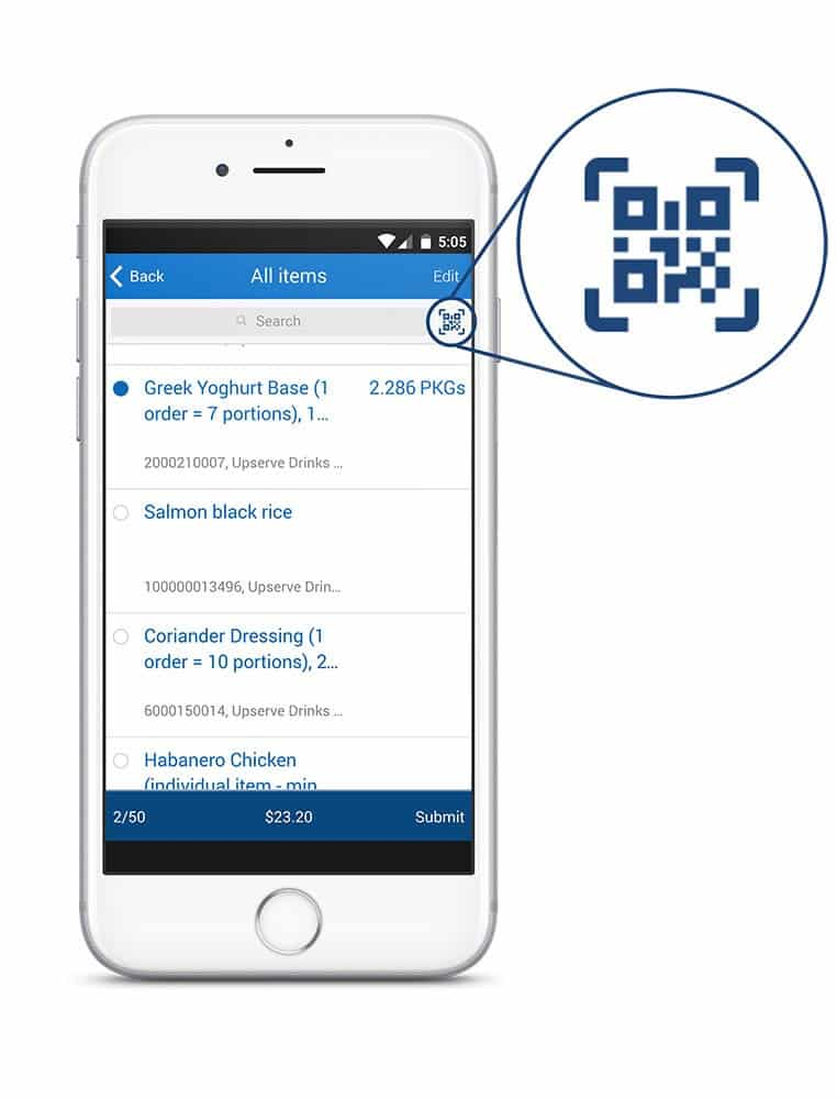 Screenshot of Upserve bar code scanning app