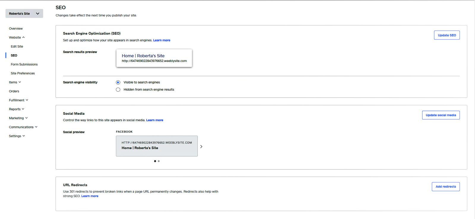 Screenshot of Weebkly built-in SEO