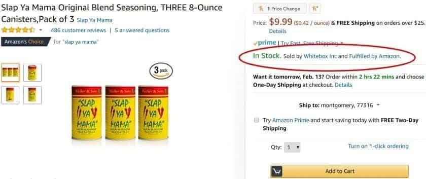 Screenshot of Whitebox Amazon seller account