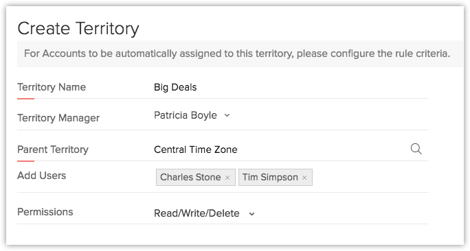 Zoho CRM Territory Management interface