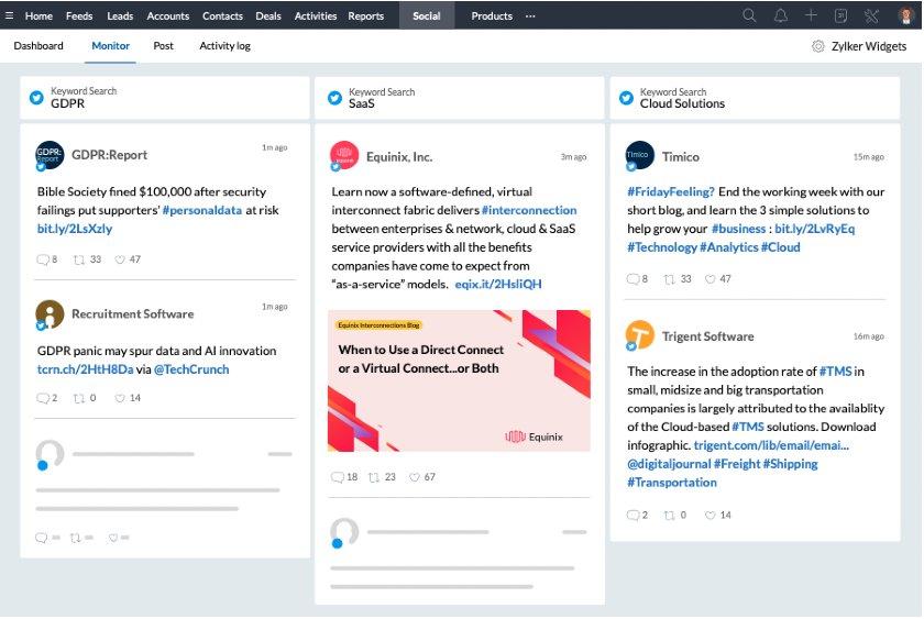 Zoho monitor keyword mentions in social media
