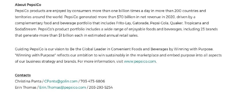 Screenshot of About PepsiCo