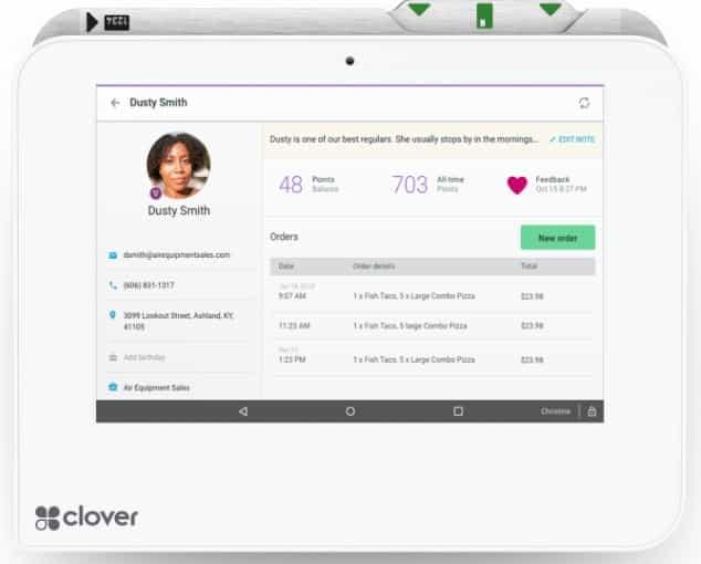 Screenshot of Clover Customer Profile