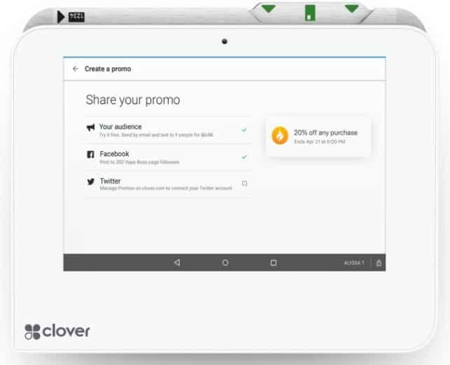 Screenshot of Clover Promo Builder