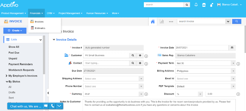 Creating an invoice from Apptivo's Financials tab.