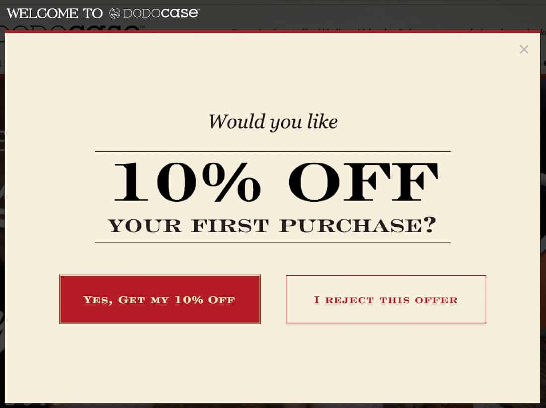 Screenshot of Customer Loyalty Program with Popup Ads