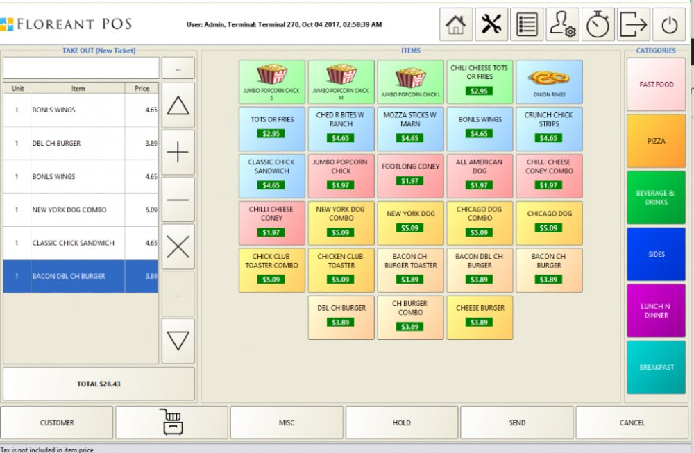 Screenshot of Floreant Free Open Source POS
