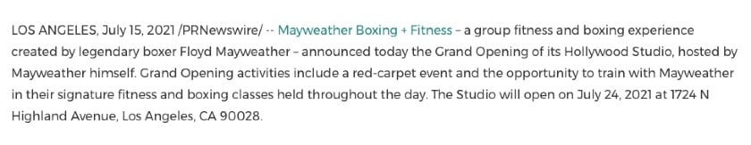 Grand opening press release example by Mayweather Boxing + Fitness