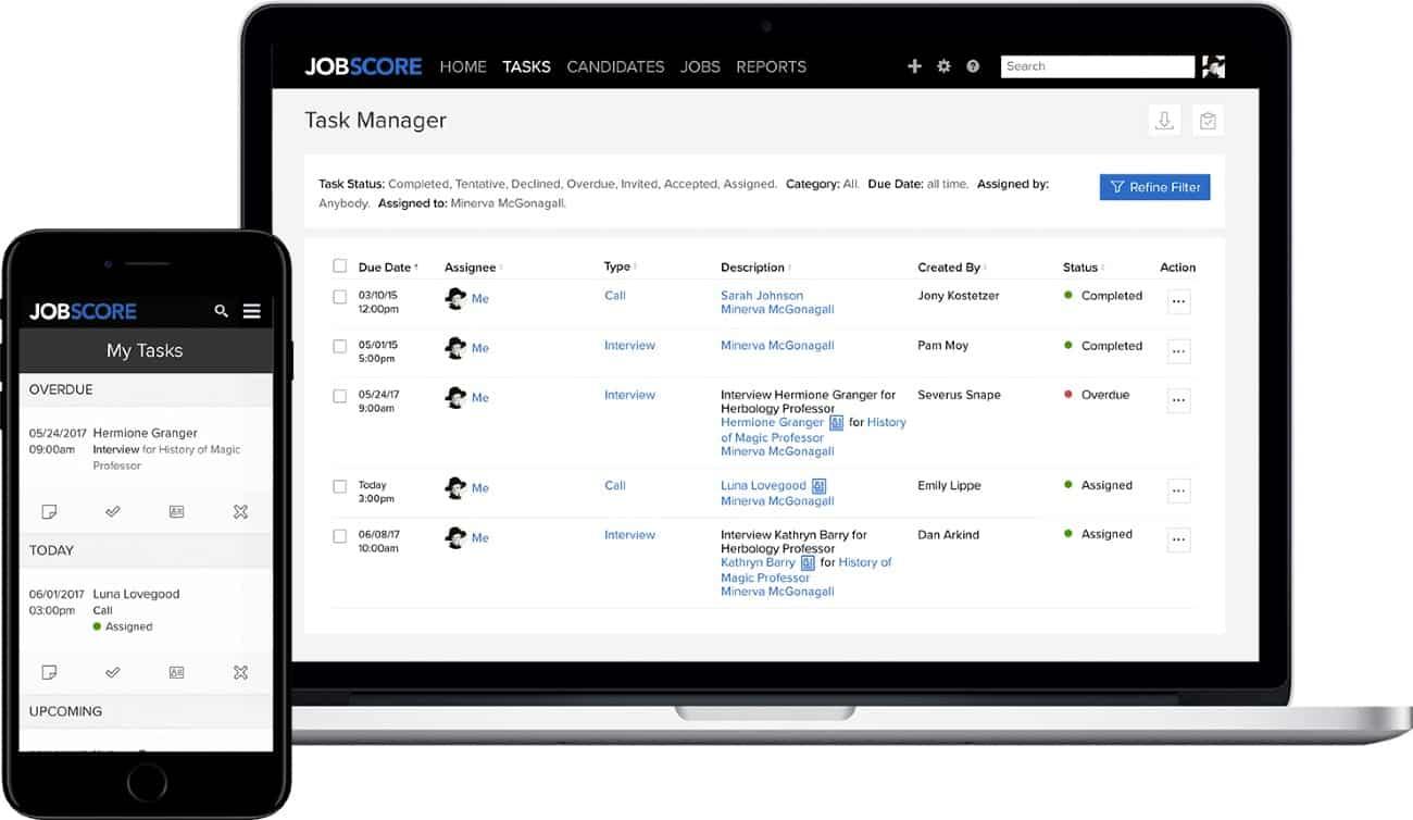 Screenshot of JobScore Workflow System