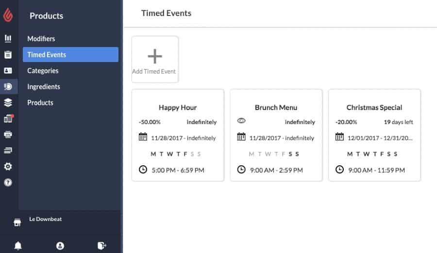 Screenshot of Lightspeed Timed Events