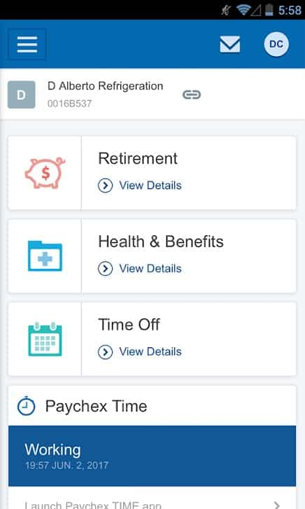 Screenshot of Paychex Payroll Benefits and Time Off