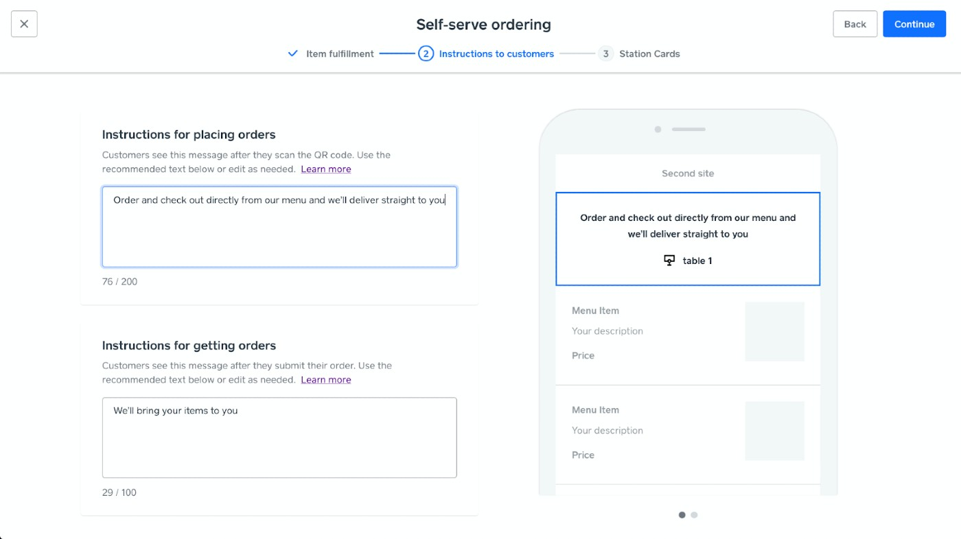 Screenshot of QR Code Ordering Instructions