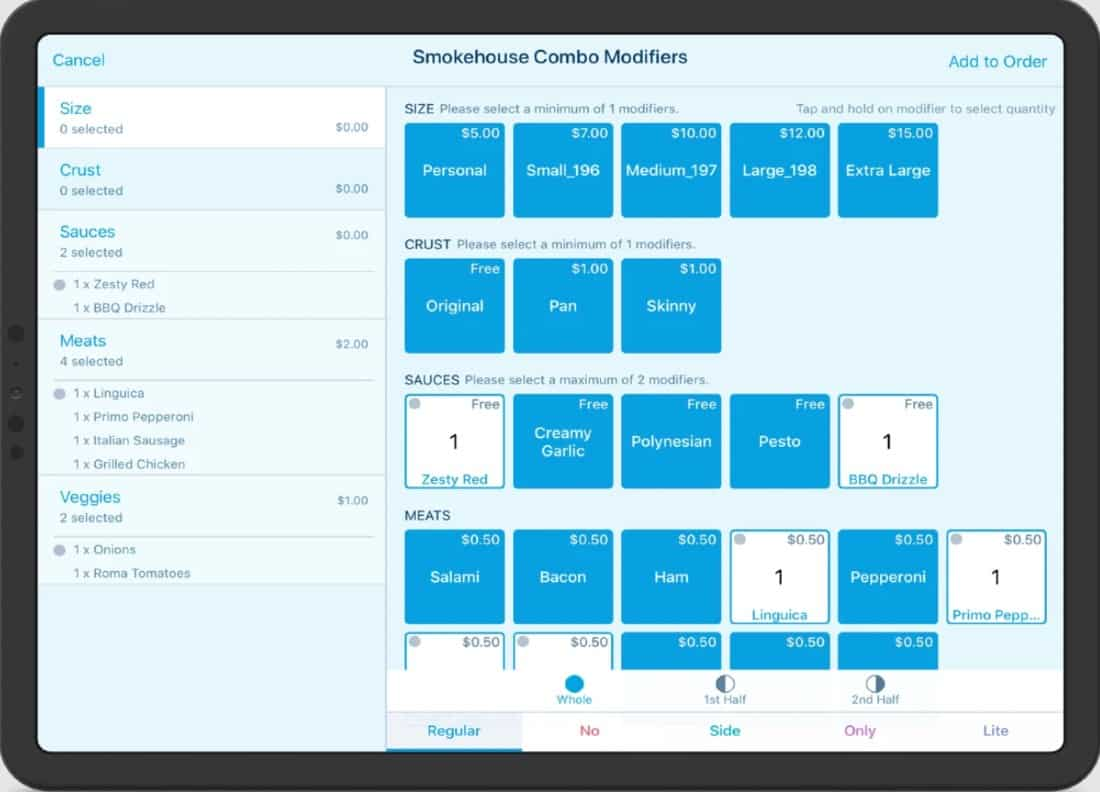 Screenshot of Revel Combo Order Screen
