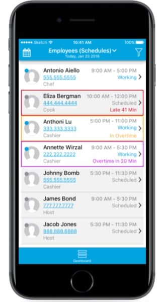 Screenshot of Revel Insights by Revel App Clock in on Mobile