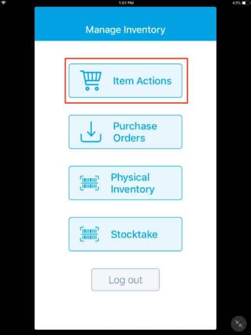 Screenshot of Revel Stock Take App