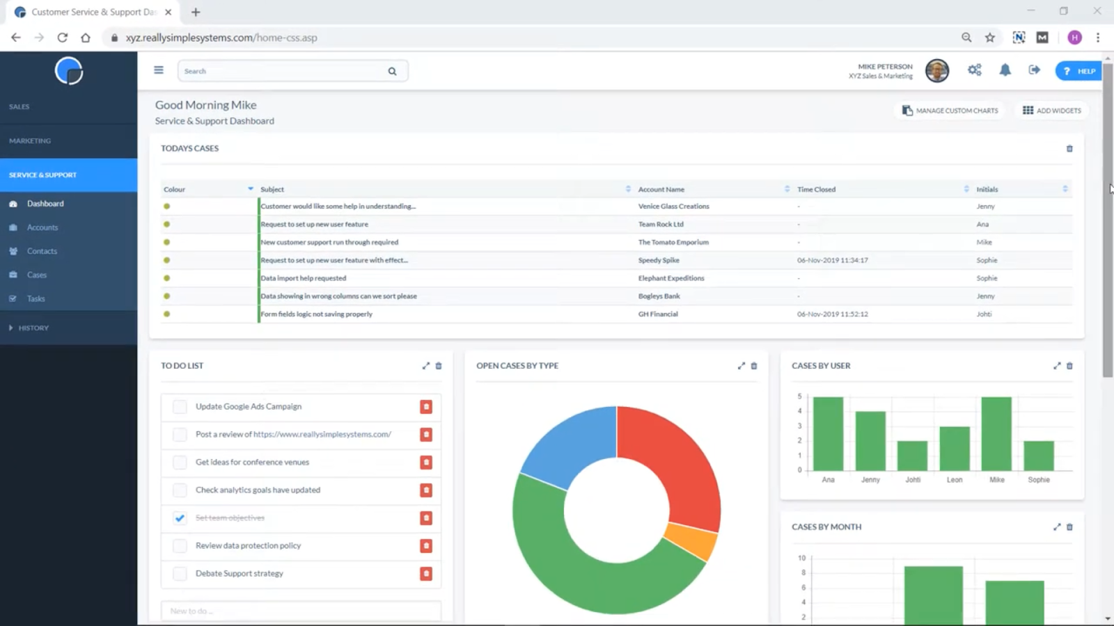 Service and Support dashboard