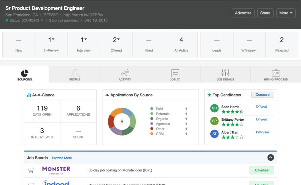 Screenshot of SmartRecruiters Workflow Management