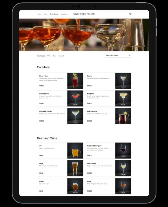 Screenshot of Square Bar Screen Online Ordering