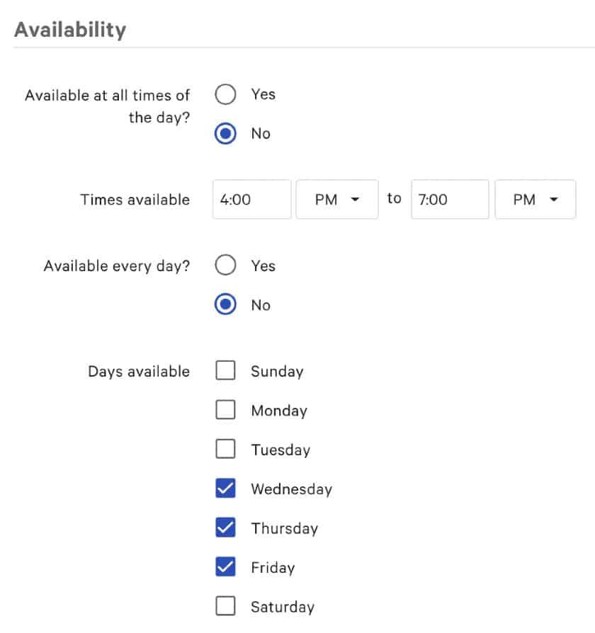 Screenshot of Toast Happy Hour Price Setting