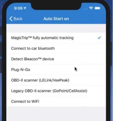 Screenshot of TripLo Selecting Tracking Option