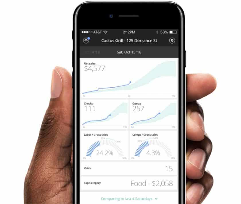 Screenshot of Upserve Mobile Reporting App