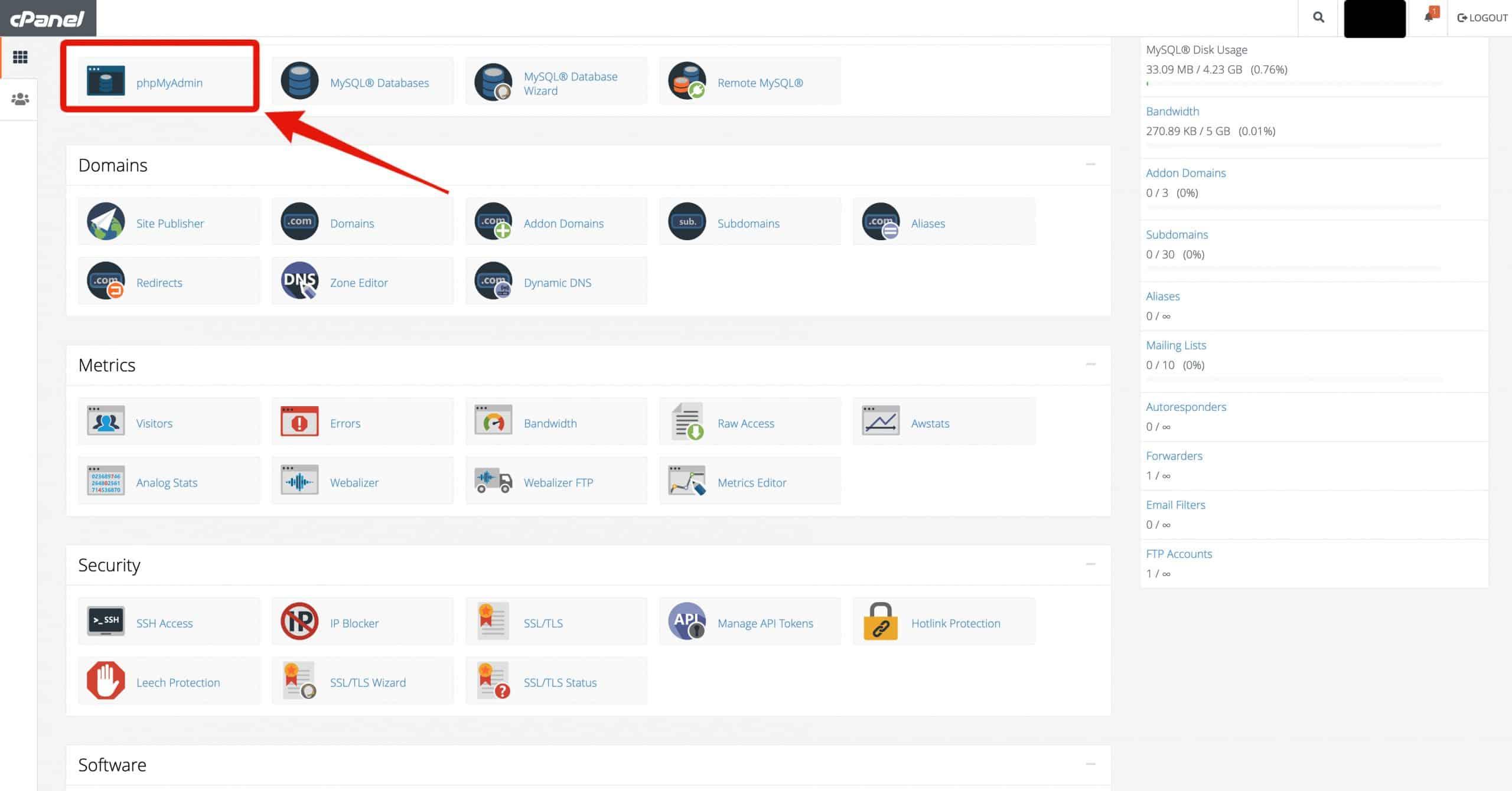Screenshot_phpMyAdmin_dashboard_on_cPanel