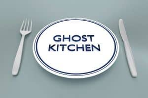 Plate and Utensils with Ghost Kitchen Written