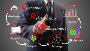 CRM Process with businessman in background