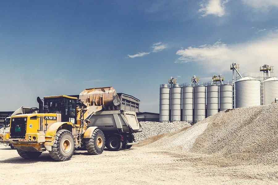 heavy construction loader bulldozer at construction area