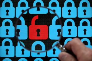 Internet security concept open red padlock
