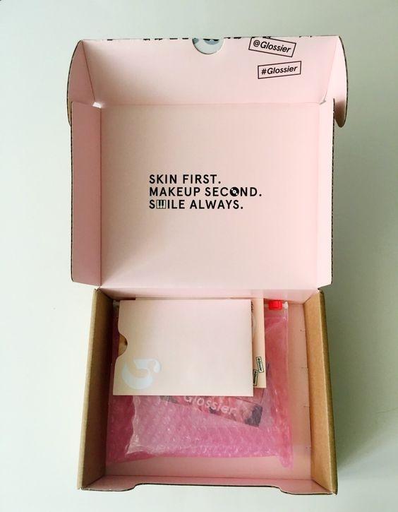 Glossier branded inner packaging